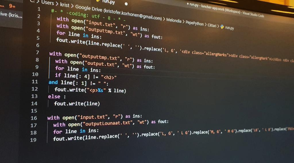 Cafe Pepe - Python koodit