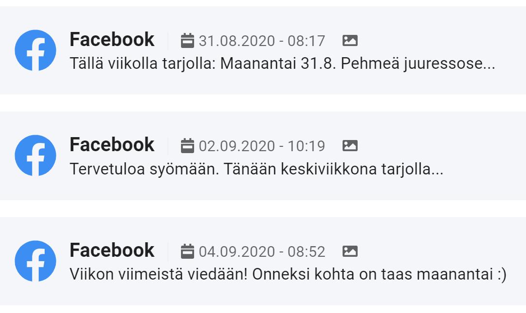 Facebook-julkaisujen ajastaminen Lounastajassa